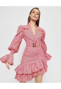 Balmain - BALMAIN - Krótka bluzka w kratkę. Okazja: na imprezę. Kolor: czerwony. Materiał: bawełna. Długość: krótkie. Wzór: kratka