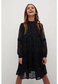 Czarna sukienka Mango Kids ze stójką, rozkloszowana, midi, w grochy