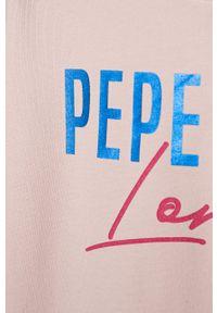 Różowa bluza Pepe Jeans z kapturem, na co dzień, z nadrukiem, casualowa