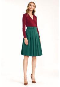 Nife - Rozkloszowana Spódnica do Kolan z Paskiem - Zielona. Kolor: zielony. Materiał: poliester, wiskoza, elastan. Długość: do kolan