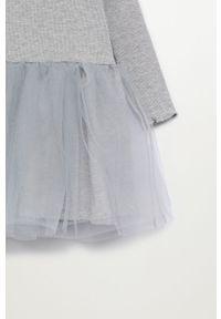 Szara sukienka Mango Kids rozkloszowana, z długim rękawem, mini, ze stójką #4