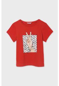 Czerwona bluzka z krótkim rękawem Mayoral na co dzień, krótka, z nadrukiem