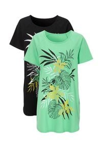 Cellbes Dżersejowa tunika w kwiaty 2 Pack jasnozielony Czarny female zielony/czarny 34/36. Kolor: wielokolorowy, zielony, czarny. Materiał: jersey. Długość rękawa: raglanowy rękaw. Wzór: kwiaty