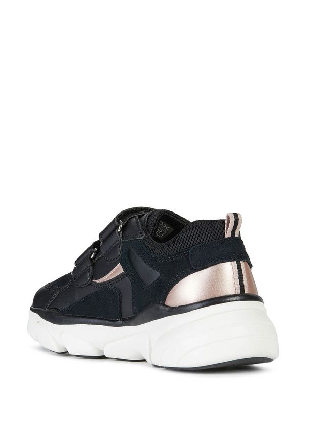 Czarne buty sportowe Geox z cholewką, na rzepy, z okrągłym noskiem
