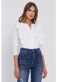 Biała koszula Patrizia Pepe długa, z długim rękawem, gładkie
