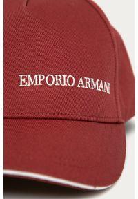 Brązowa czapka z daszkiem Emporio Armani gładkie