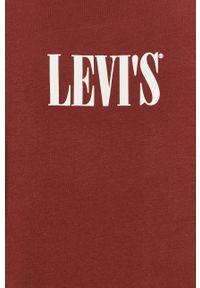 Brązowy t-shirt Levi's® w kolorowe wzory, z okrągłym kołnierzem, biznesowy