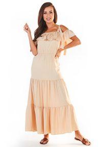 Awama - Długa Sukienka w Hiszpańskim Stylu - Beżowa. Kolor: beżowy. Materiał: wiskoza, elastan. Długość: maxi