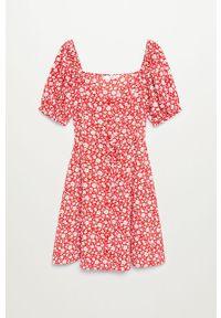 Czerwona sukienka mango prosta, z krótkim rękawem