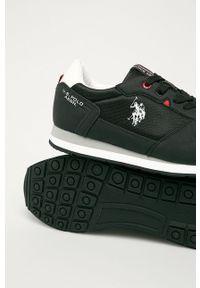Czarne sneakersy U.S. Polo Assn na sznurówki, z okrągłym noskiem, z cholewką