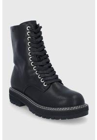 GOE - Workery skórzane. Nosek buta: okrągły. Zapięcie: sznurówki. Kolor: czarny. Materiał: skóra