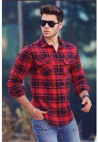 IVET - Koszula męska MALCOLM RED. Okazja: na co dzień. Kolor: wielokolorowy. Materiał: bawełna. Długość rękawa: długi rękaw. Długość: długie. Wzór: kratka. Styl: casual