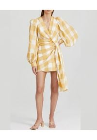 ACLER - Sukienka w kratę Sutherland. Kolor: biały. Materiał: tkanina. Typ sukienki: kopertowe. Długość: mini
