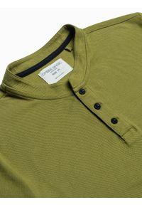Ombre Clothing - Koszulka męska polo bawełniana S1381 - oliwkowa - XXL. Typ kołnierza: polo. Kolor: oliwkowy. Materiał: bawełna
