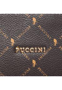 Brązowa torebka klasyczna Puccini z aplikacjami, skórzana