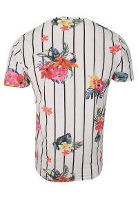 Biały Bawełniany T-Shirt Męski -Brave Soul- Koszulka, Krótki Rękaw, w Czarne Paski, Kolorowe Kwiaty. Okazja: na co dzień. Kolor: wielokolorowy. Materiał: bawełna. Długość rękawa: krótki rękaw. Długość: krótkie. Wzór: kwiaty. Sezon: lato, wiosna. Styl: casual