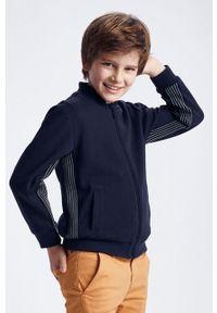 Niebieska bluza rozpinana Mayoral bez kaptura, casualowa, gładkie