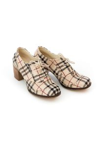 Zapato - sznurowane półbuty na 6 cm słupku - skóra naturalna - model 251 - kolor beżowa kratka. Kolor: beżowy. Materiał: skóra. Wzór: kratka. Obcas: na słupku