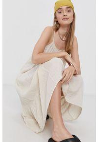 Vero Moda - Sukienka bawełniana. Kolor: beżowy. Materiał: bawełna. Długość rękawa: na ramiączkach. Typ sukienki: rozkloszowane