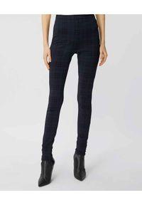 Burberry - BURBERRY - Granatowe legginsy w kratkę. Stan: podwyższony. Kolor: niebieski. Materiał: dzianina. Wzór: kratka. Styl: klasyczny #1