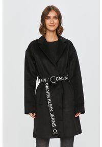 Czarny płaszcz Calvin Klein Jeans bez kaptura, na co dzień, casualowy