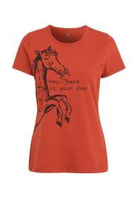 Cellbes Equestrian Bluzka do jazdy konnej z krótkim rękawem i nadrukiem rdzawy female brązowy/pomarańczowy 54/56. Kolor: pomarańczowy, brązowy, wielokolorowy. Materiał: bawełna. Długość rękawa: krótki rękaw. Długość: krótkie. Wzór: nadruk. Sport: jeździectwo