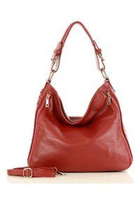 Czerwona torebka klasyczna na ramię, skórzana