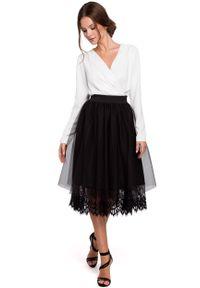 e-margeritka - Spódnica z tiulem czarna - s. Okazja: na imprezę. Kolor: czarny. Materiał: tiul. Długość: długie. Wzór: gładki. Styl: elegancki
