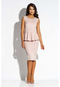 Różowa sukienka wizytowa Dursi bez rękawów, baskinka