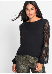 Shirt z długim rękawem i koronkowymi rękawami bonprix czarny. Kolor: czarny. Materiał: koronka. Długość rękawa: długi rękaw. Długość: długie. Wzór: koronka. Styl: elegancki