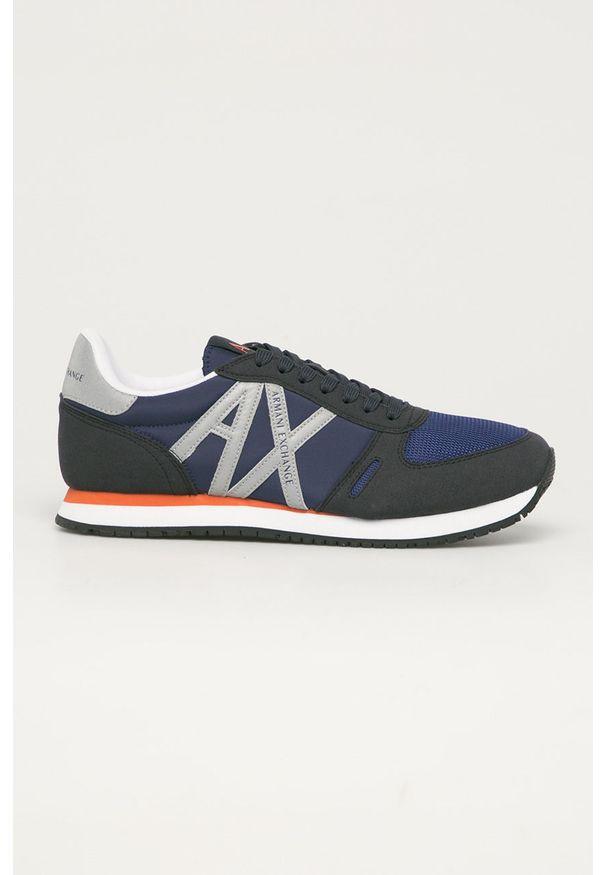 Niebieskie sneakersy Armani Exchange na sznurówki, z okrągłym noskiem, z cholewką