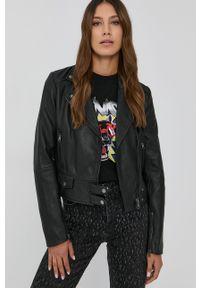 Pinko - Ramoneska skórzana. Kolor: czarny. Materiał: skóra