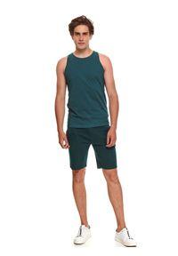 TOP SECRET - T-shirt z łączonych dzianin bez rękawów. Kolor: zielony. Materiał: dzianina. Długość rękawa: bez rękawów. Długość: długie