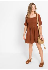 Sukienka z przeszyciem cienkimi gumkami bonprix głęboki pomarańczowy. Kolor: pomarańczowy