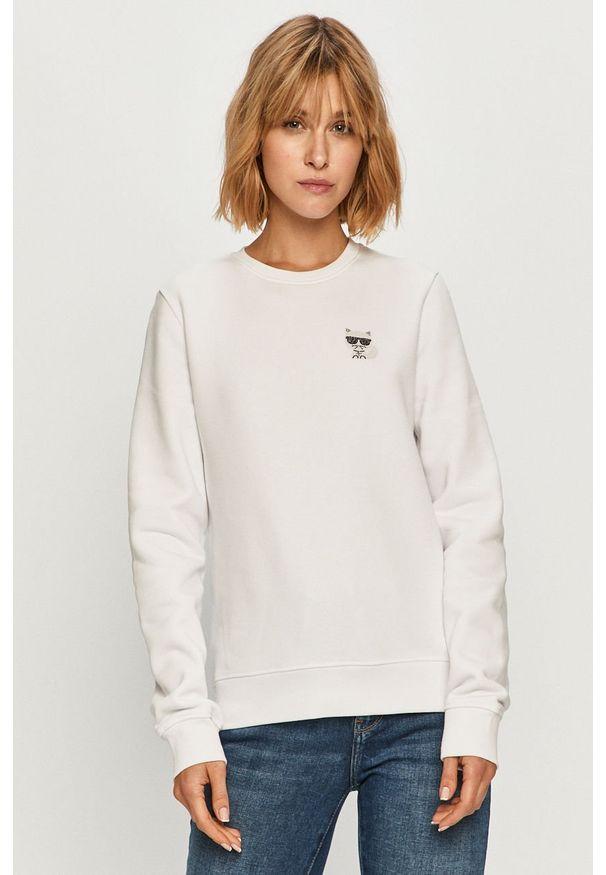 Biała bluza Karl Lagerfeld casualowa, na co dzień, z aplikacjami