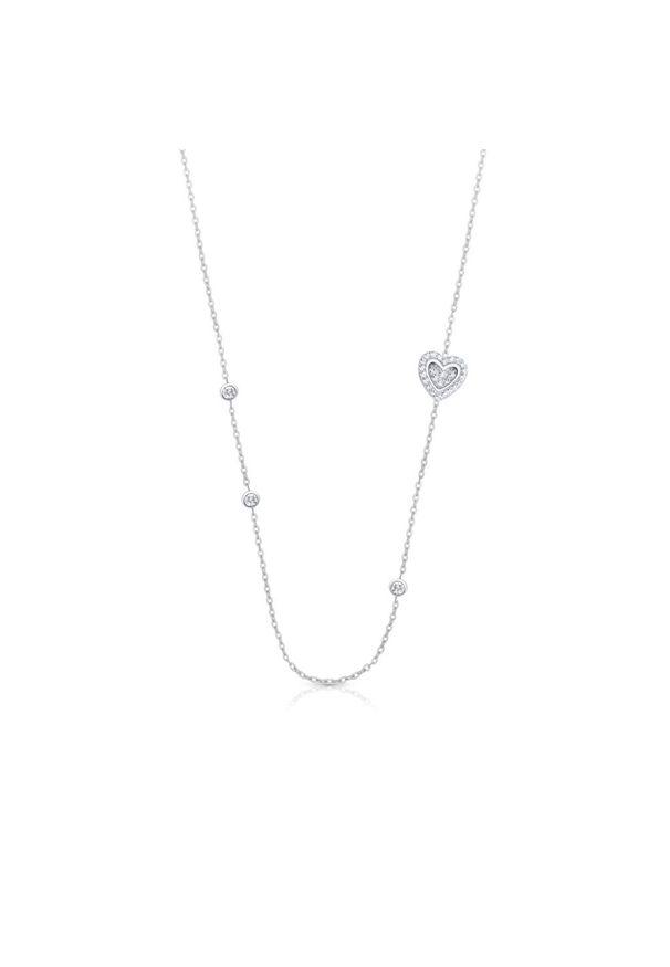 W.KRUK Unikalny Naszyjnik - srebro 925, Cyrkonia - SHX/NC244. Materiał: srebrne. Wzór: aplikacja. Kamień szlachetny: cyrkonia