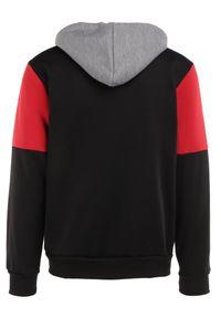 Born2be - Czarno-Szara Bluza Kaliope. Typ kołnierza: kaptur. Kolor: czarny. Materiał: jeans, dzianina. Wzór: aplikacja. Styl: sportowy