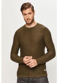 Oliwkowy sweter PRODUKT by Jack & Jones z okrągłym kołnierzem, na co dzień