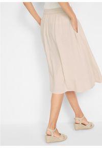 Spódnica lniana z plisą guzikową bonprix beżowo-szary. Kolor: szary. Materiał: len