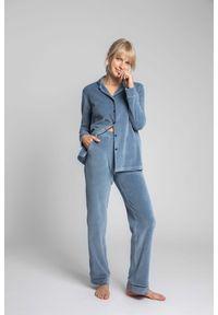 MOE - Welurowe Spodnie od Piżamy z Kontrastowymi Lamówkami - Niebieskie. Kolor: niebieski. Materiał: welur