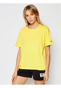 Champion T-Shirt Script Logo Embroidery 112732 Żółty Oversize. Kolor: żółty
