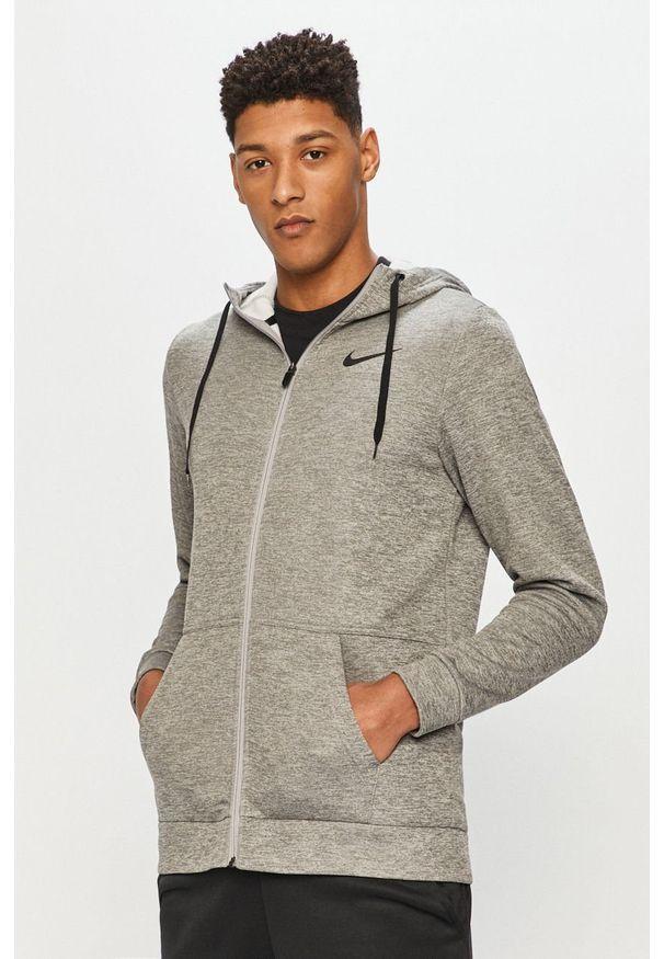 Szara bluza rozpinana Nike na co dzień, casualowa, z kapturem