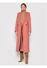 TwinSet Płaszcz wełniany 212TP2181 Różowy Straight Fit. Kolor: różowy. Materiał: wełna