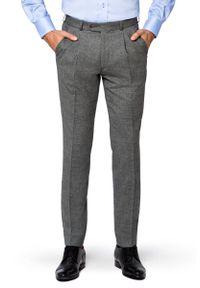 Lancerto - Spodnie Szare w Kratę Księcia Walii Rotterdam. Kolor: szary. Materiał: wełna, tkanina, elastan. Długość: długie. Styl: klasyczny, sportowy