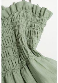mango - Mango - Sukienka CELIA. Kolor: zielony. Materiał: włókno, materiał. Długość rękawa: na ramiączkach. Typ sukienki: rozkloszowane