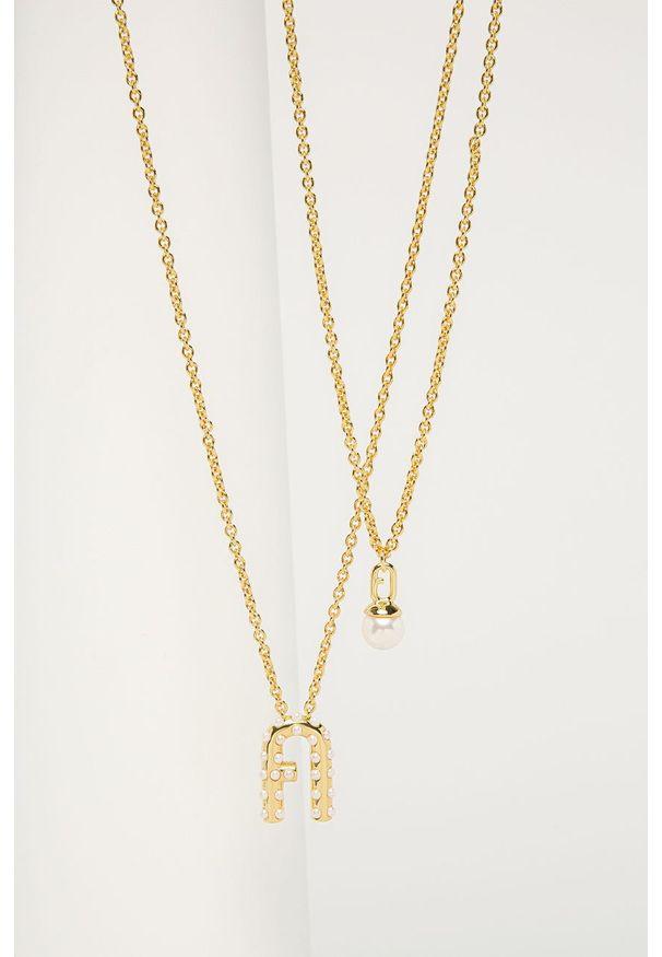 Złoty naszyjnik Furla z kryształem, metalowy, z aplikacjami