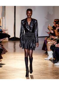 SELF PORTRAIT - Czarna sukienka mini ze skóry ekologicznej. Okazja: do pracy. Kolor: czarny. Materiał: skóra ekologiczna. Wzór: koronka. Typ sukienki: dopasowane, rozkloszowane. Styl: elegancki. Długość: mini
