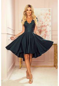 Sukienka wieczorowa Numoco z krótkim rękawem, asymetryczna, gładkie