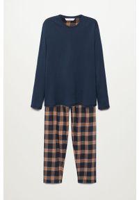 Niebieska piżama Mango Man długa, gładkie