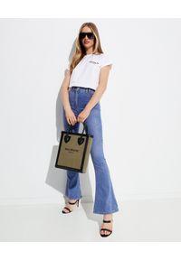 Balmain - BALMAIN - Jeansy z szeroką nogawką. Stan: podwyższony. Kolor: niebieski